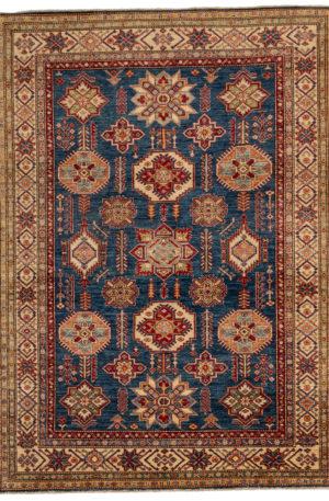 Kazak Design 5X8 Blue Ivory Wool Area Rug