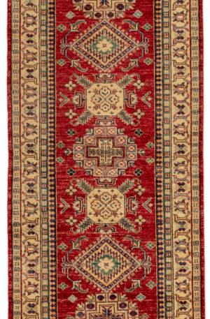 Kazak Design Runner Red Ivory Wool Area Rug