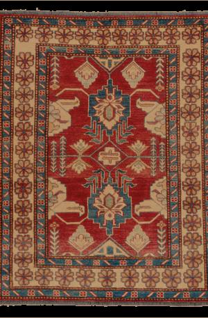Kazak 3x5 Red Ivory Wool Area Rug