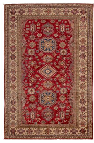 Kazak Design 6X9 Red Ivory Wool Area Rug