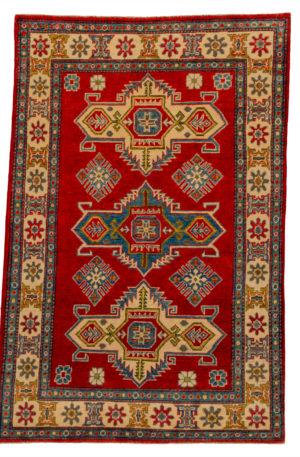 Kazak Design 4X6 Red Ivory Wool Area Rug