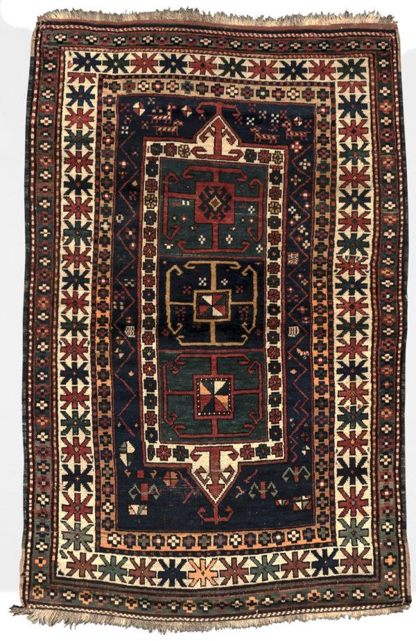 Antique Kazak 4X6 Blue Ivory Wool Area Rug