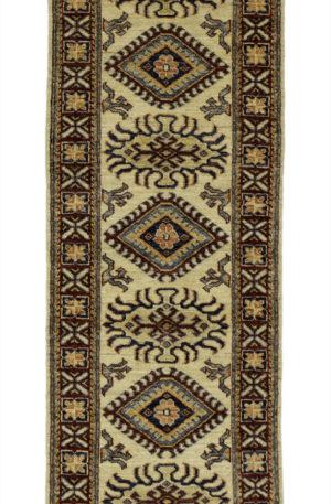 Kazak Design Runner Ivory Red Wool Area Rug