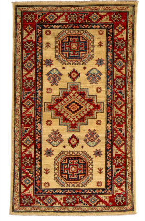 Kazak Design 3X5 Beige Red Wool Area Rug