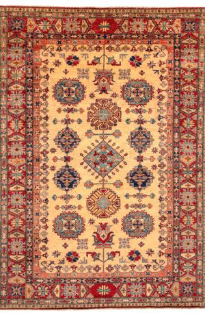 Pakistan Kazak 8X10 Beige Red Wool Area Rug