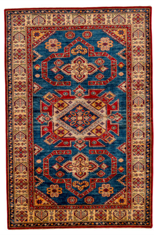 Kazak Design 4X6 Blue Ivory Wool Area Rug
