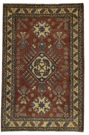 Kazak Design 4X6 Red Beige Wool Area Rug
