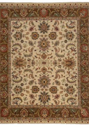 8X10 Ivory Brown Wool Area Rug