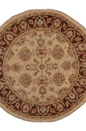 4' Round Chobi Design Ivory Brown Wool Area Rug