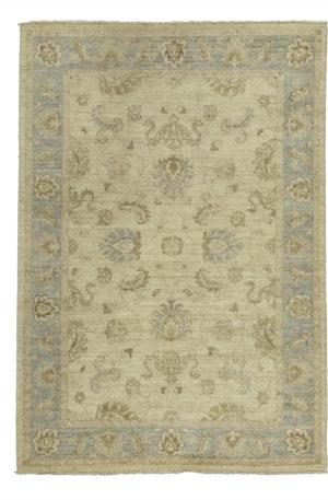 Chobi Design 4X6 Ivory Blue Wool Area Rug