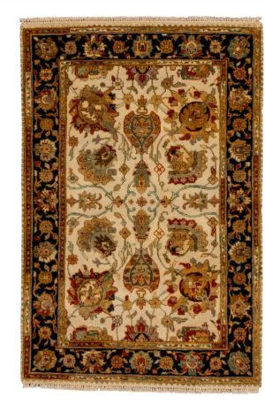 4X6 Ivory Black Wool Area Rug