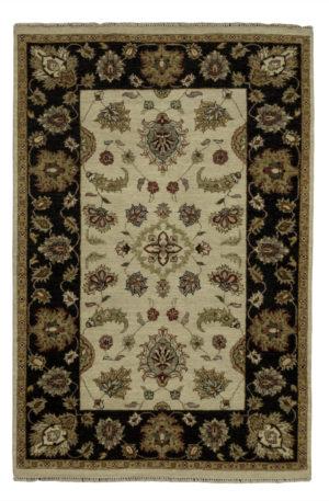 4X6 Beige Black Wool Area Rug