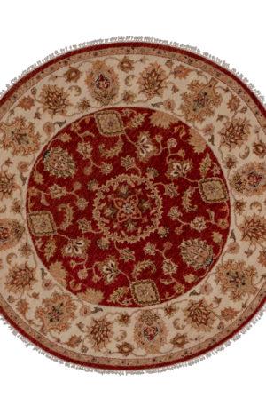 5' Round Red Beige Wool Area Rug