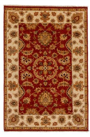 4X6 Red Beige Wool Area Rug