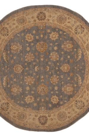 8' Round Chobi Design Grey Beige Wool Area Rug