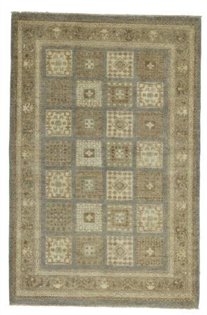 Chobi Design 4X6 Blue Beige Wool Area Rug