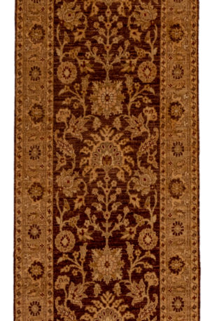 Hand Knotted Wool Chobi Brown Gold Runner Area Rug