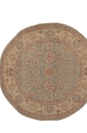 4' Round Chobi Design Blue Ivory Wool Area Rug