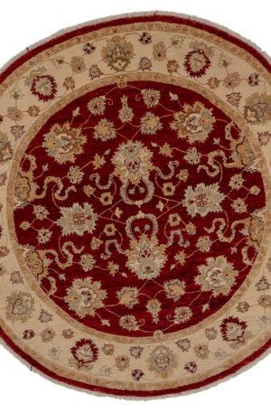 6' Round Red Beige Wool Area Rug