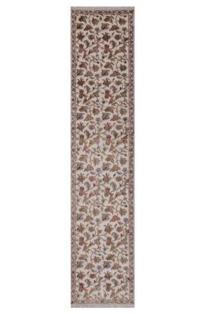 Traditional Design Ivory/Taupe Wool & Art Silk 12 Ft Runner Elegance Area Rug