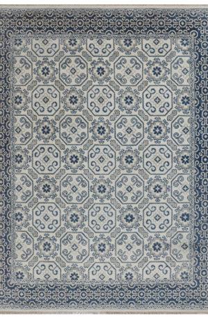 Transitional Design Ivory/Navy Wool 8x10 Anatolian Area Rug