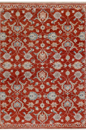 Transitional Design Red/Red Wool 8x10 Anatolian Area Rug