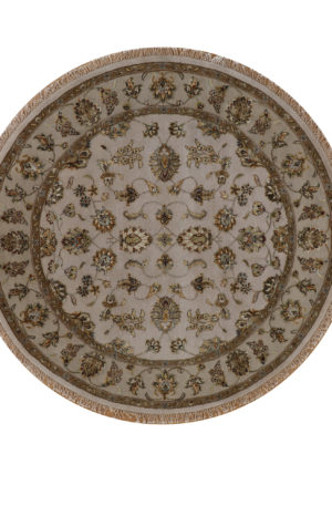 Traditional Floral Beige/Taupe Wool & Art Silk 6 Ft Round Elegance Area Rug