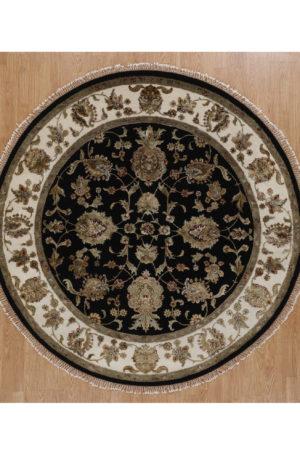 Traditional Floral Black/Ivory Wool & Art Silk 6 Ft Round Elegance Area Rug