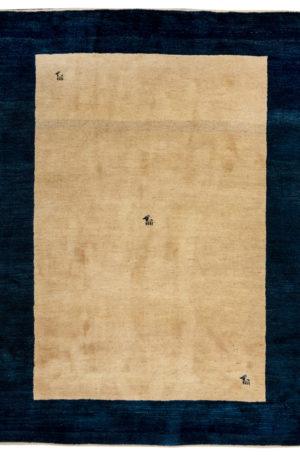 Persian Gabbeh Wool 7x9 Ivory Blue Area Rug