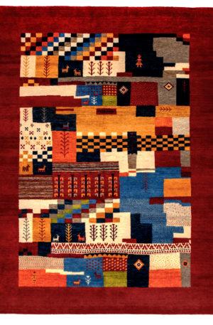Loribaft Gabbeh India 5X8 Multi Red Wool Area Rug