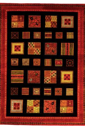 Loribaft Gabbeh India 5X8 Black Red Wool Area Rug