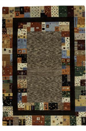Loribaft Gabbeh India 5X8 Brown Multi Wool Area Rug