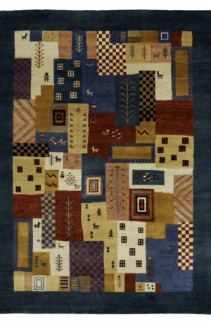 5X8 Multi Blue Wool Area Rug