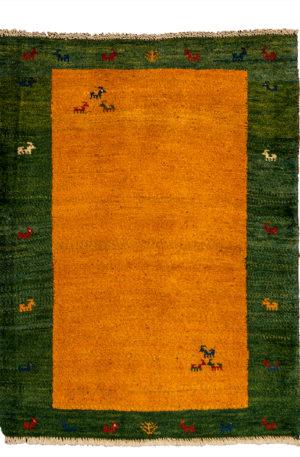 Persian Gabbeh 2X3 Orange Green Wool Area Rug