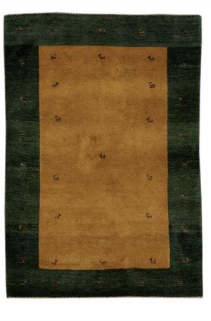 Persian Gabbeh 4X6 Orange Green Wool Area Rug