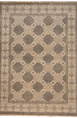 Transitional 9X12 Ivory Ivory Wool Area Rug