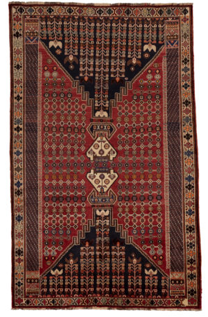 Persian Shiraz 5X8 Red Ivory Wool Area Rug