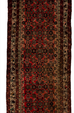 Persian Hamadan Runner Pink Ivory Wool Area Rug