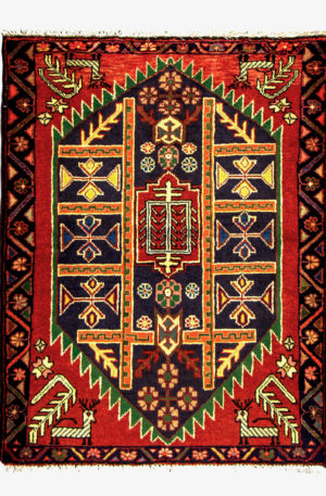Persian Hamadan 3X5 Red Blue Wool Area Rug