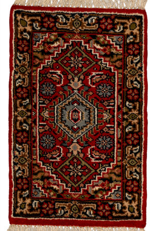 1X2 Red Blue Wool Area Rug