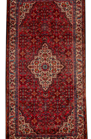Persian Hamadan Runner Red Ivory Wool Area Rug