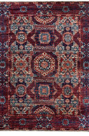 Mamluk Design India 9X12 Gray Red Wool Area Rug