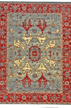 9X12 Gray Red Wool Area Rug