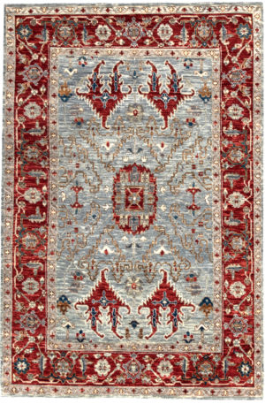 Transitional 6X9 Gray Red Wool Area Rug