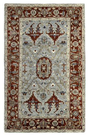 Transitional 5X8 Gray Red Wool Area Rug