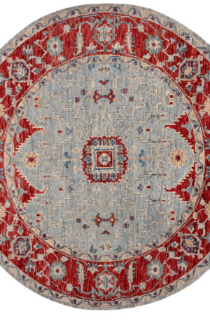 Transitional 8' Blue Red Wool Area Rug