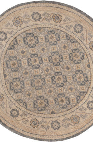 Transitional 5' Round Gray Ivory Wool Area Rug