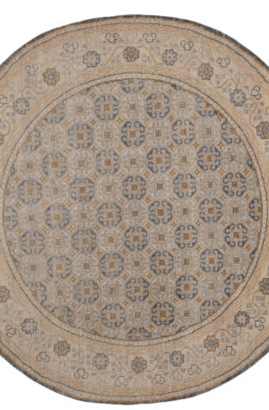 Transitional 8' Round Gray Ivory Wool Area Rug