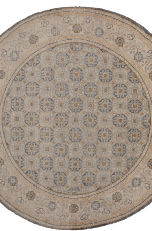 8' Round Gray Ivory Wool Area Rug
