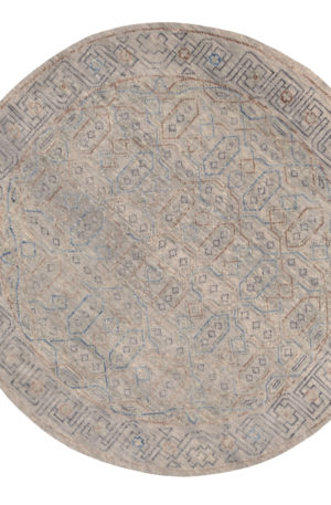 Transitional 6' Round Gray Wool Area Rug